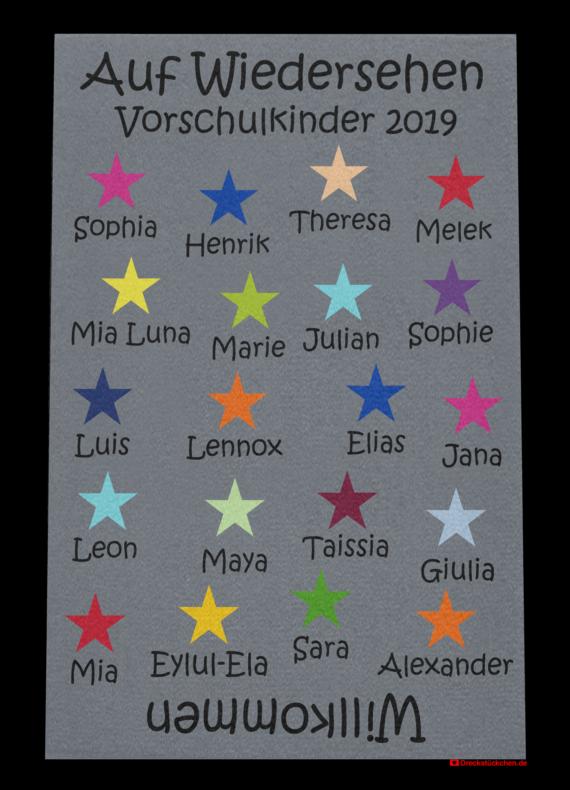 Fußmatte: Kindergarten Abschiedsfussmatte 2019 Entwurf J Sterne
