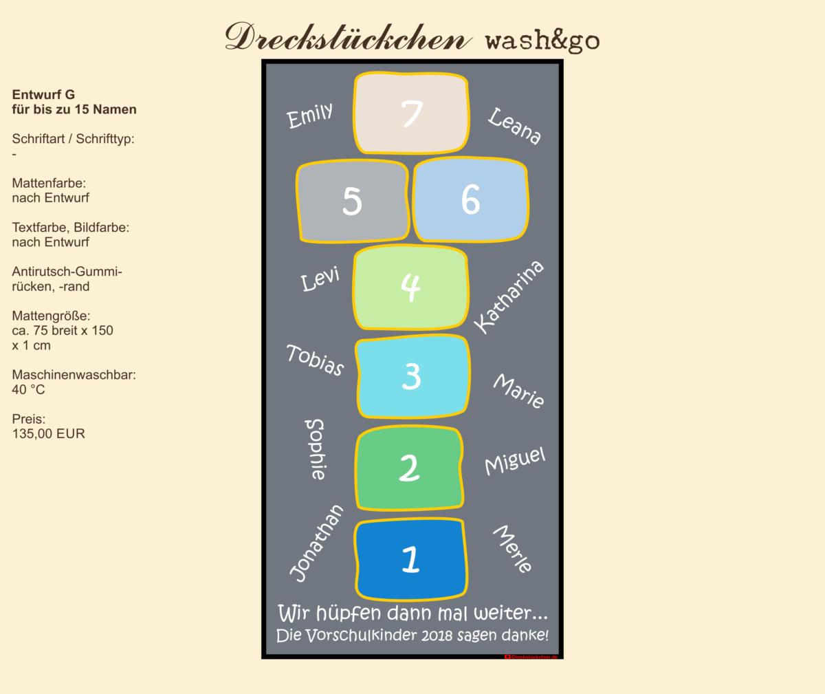 Dreckstückchen: Kindergarten Abschiedsmatte 75x150G