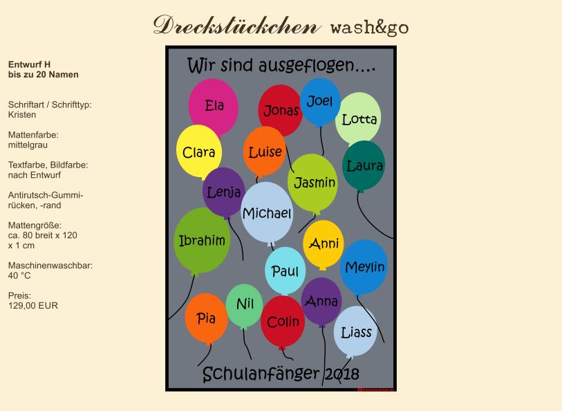 Kindergarten Abschiedsmatte80x120H