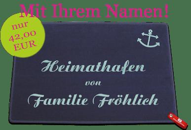 Fussmatte Heimathafen mit individuellem Namensaufdruck