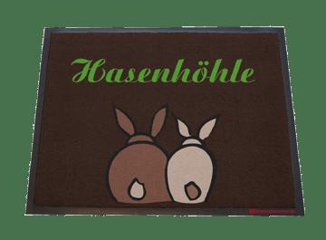 Fußmatte: Hasenhöhle mit Häschen
