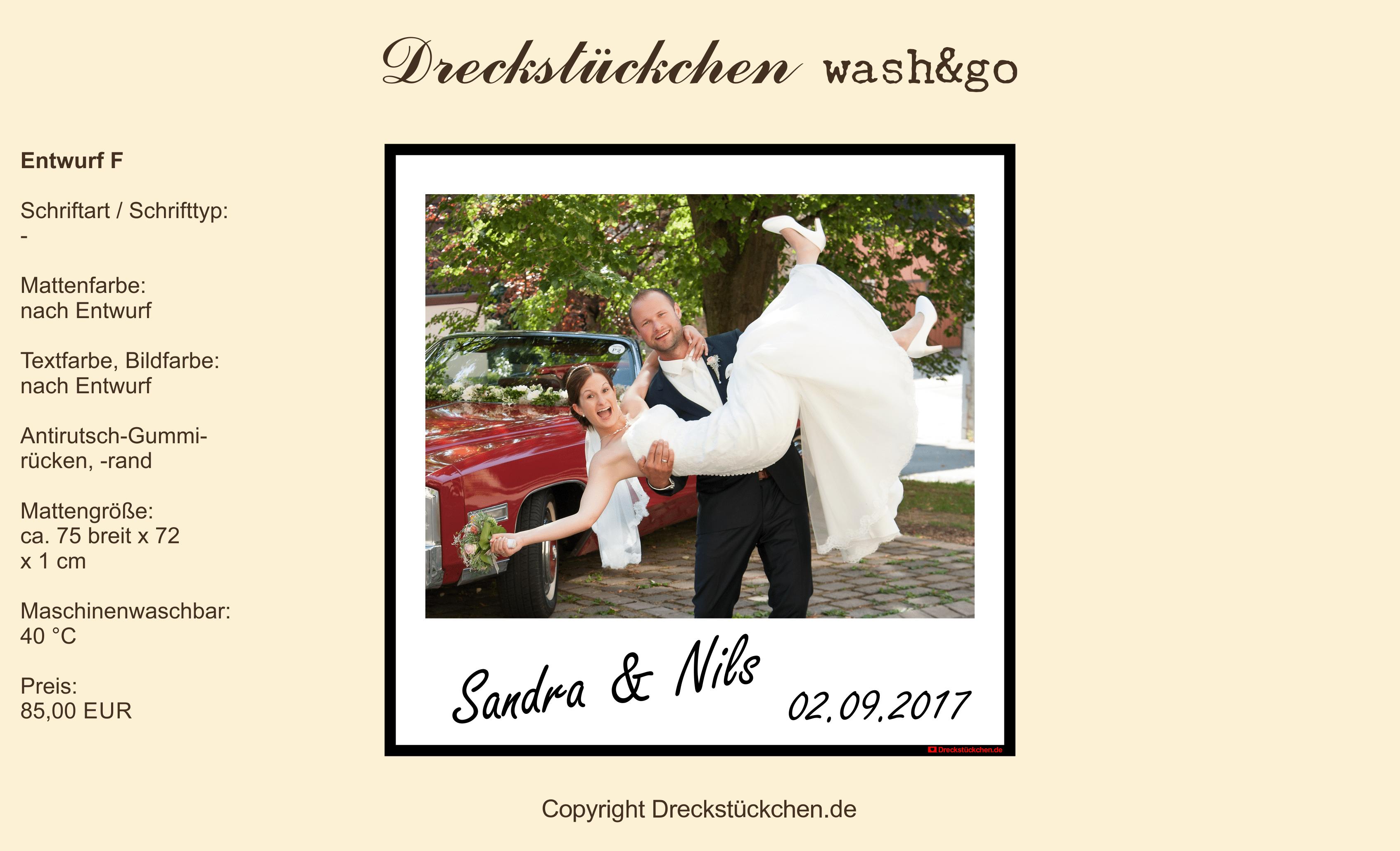 Hochzeits-Fußmatte-Dreckstückchen F