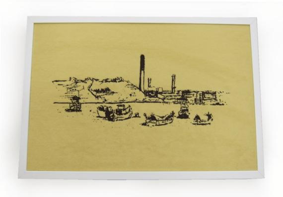 Zeichnung mit Rahmen Delimara Power Station Malta
