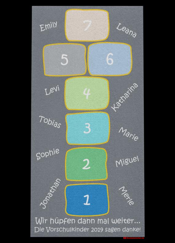 Fußmatte: Kindergarten Abschiedsfussmatte 75x150 Hüpffeld Entwurf G