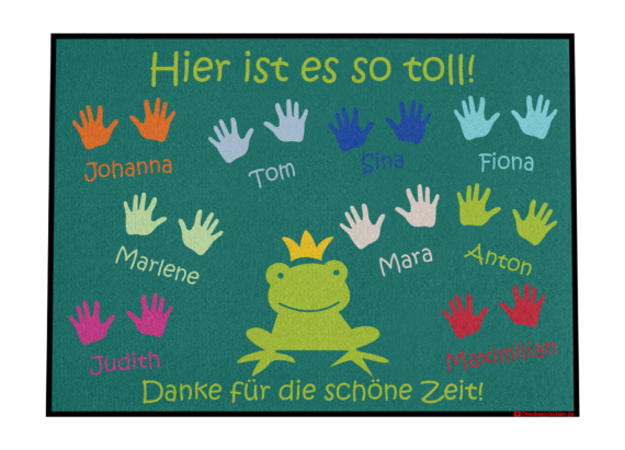 Fußmatte: Kindergarten-Abschiedsfussmatte 90x65 Frosch Entwurf E