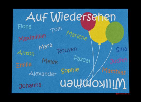 Fußmatte: Kindergarten-Abschiedsfussmatte 90x65 Luftballons Entwurf F