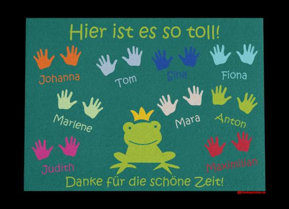 Kindergarten Abschiedsfussmatte Frosch 90x65 Entwurf E