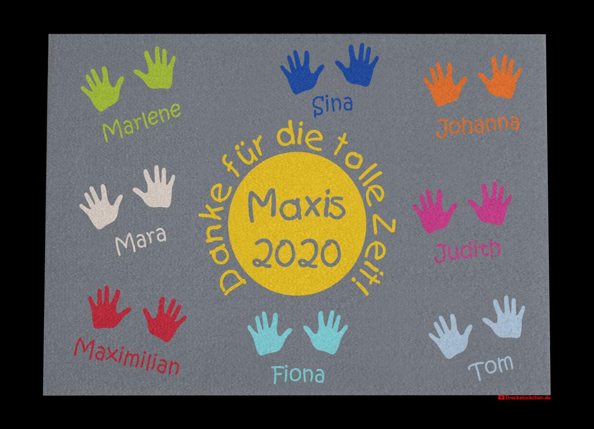 Fußmatte: Kindergarten-Abschiedsfussmatte Maxis Kreis mittig 90x65 Entwurf D