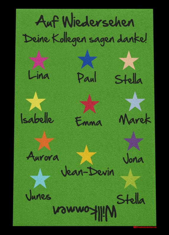 Fußmatte: Kollegen-Abschiedsfussmatte 80x120 Sterne Entwurf A
