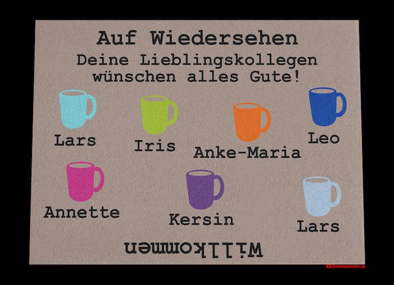 Kollegen-Abschiedsfussmatte 90x65 Kaffeetassen