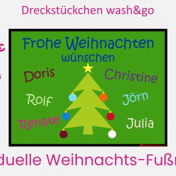 Dreckstückchen: Weihnachtsfußmatte mit Namen