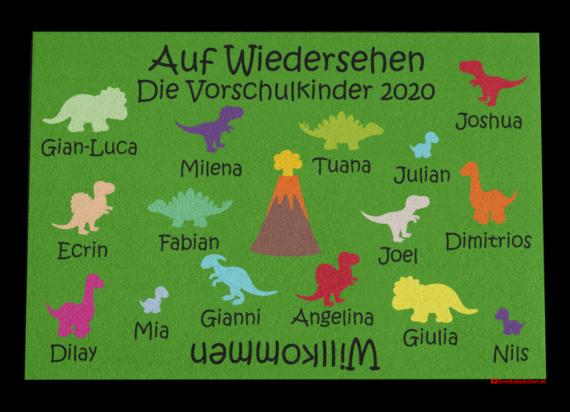 Fußmatte: Kinder-Abschiedsfussmatte 120x80 Dinos Entwurf M