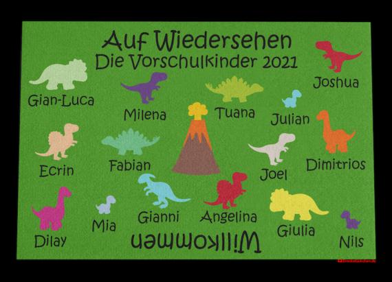 Kindergarten Abschiedsfussmatte Dinos 120x80 Entwurf M