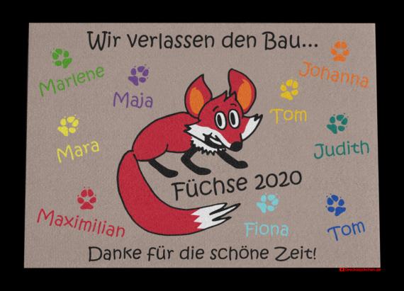 Fußmatte: Kindergarten Abschiedsfussmatte Fuchs 100x70 Entwurf N