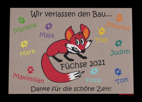 Dreckstückchen: Kindergarten Abschiedsfussmatte Fuchs 90x65 Entwurf N