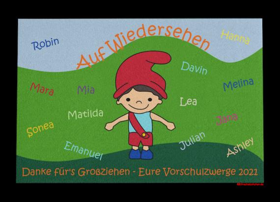 Dreckstückchen: Kindergarten Abschiedsfussmatte Zwerg 120x80 Entwurf O