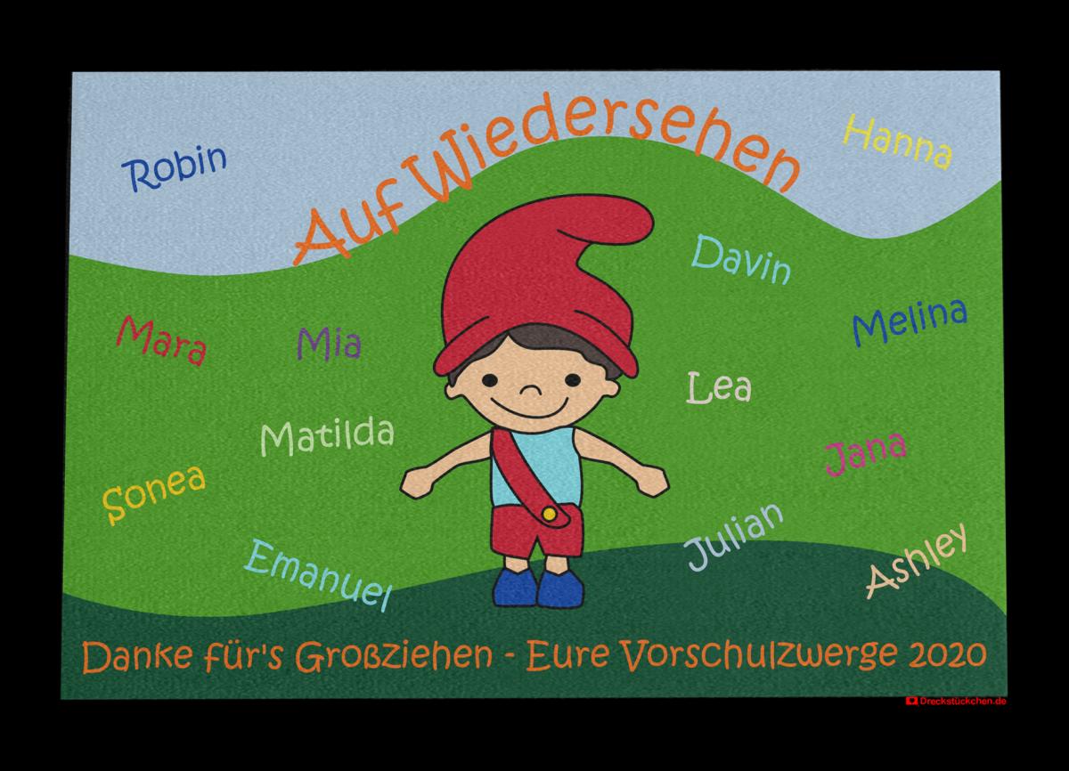 Fußmatte: Kindergarten Abschiedsfussmatte Zwerg 120x80 Entwurf O