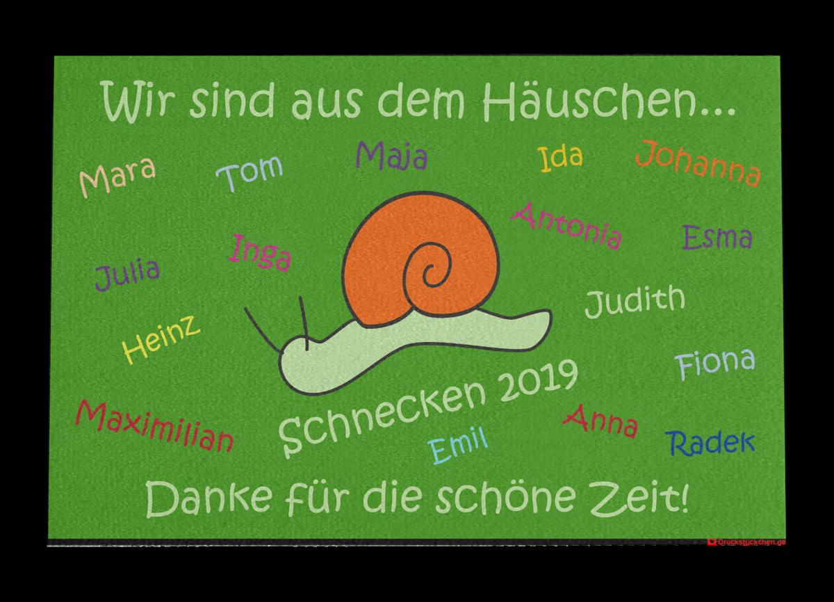 Kindergarten Vorschulkinder Abschiedsfußmatte Schnecke (Entwurf P)