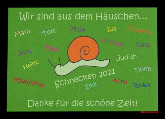 Dreckstückchen: Kindergarten Abschiedsfussmatte Schnecke 90x65 Entwurf P