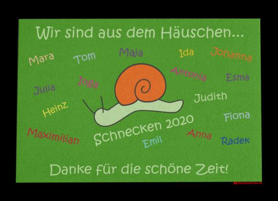 Fußmatte: Kindergarten Abschiedsfussmatte Schnecke 90x65 Entwurf P