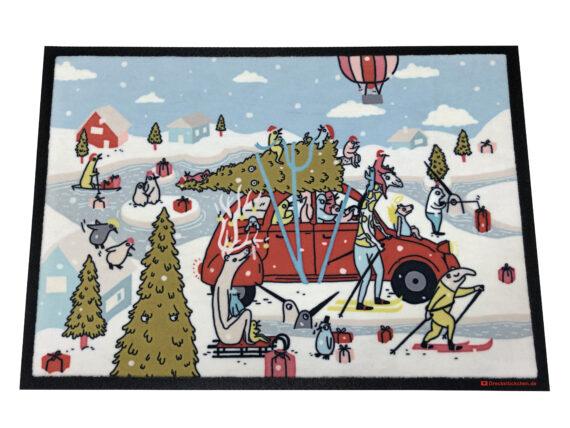 Kunstfußmatte von Lena Schaffer Weihnachtsfahrt