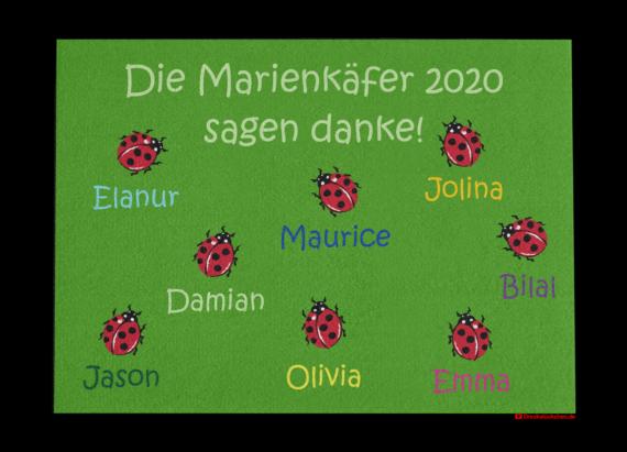 Fußmatte: Kindergarten Abschiedsfussmatte Marienkäfer 90x65 Entwurf V
