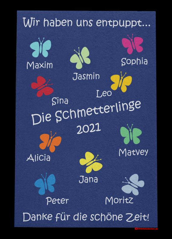 Dreckstückchen: Kindergarten Abschiedsfussmatte Schmetterlinge 80x120 Entwurf U