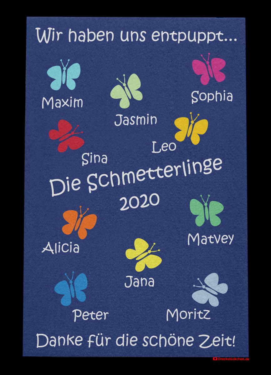 Fußmatte: Kindergarten Abschiedsfussmatte Schmetterlinge 80x120 Entwurf U