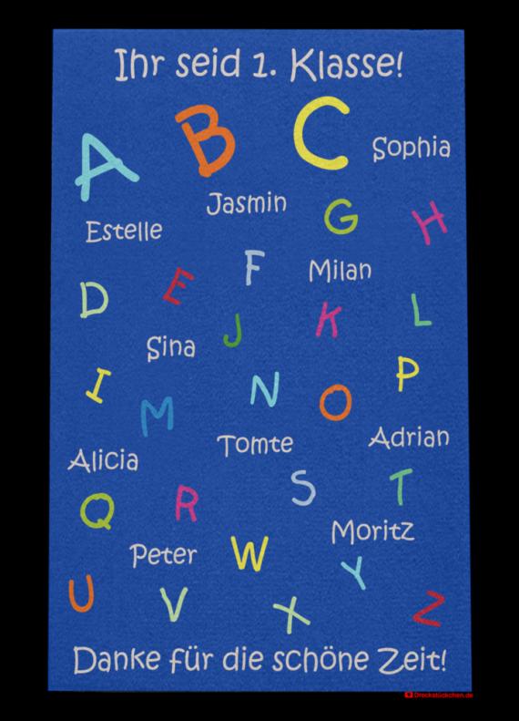 Fußmatte: Kindergarten Abschiedsfussmatte ABC 80x120 Entwurf X ihr seid