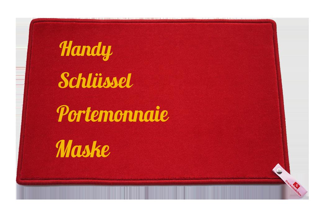 Fußmatte: Handy Schluessel Maske Dreckstueckchen