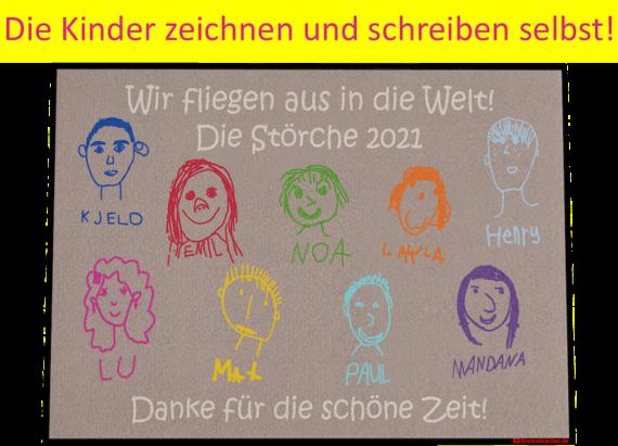 Kindergarten Abschiedsfussmatte Gesichter Entwurf Y Die Kinder zeichnen und schreiben